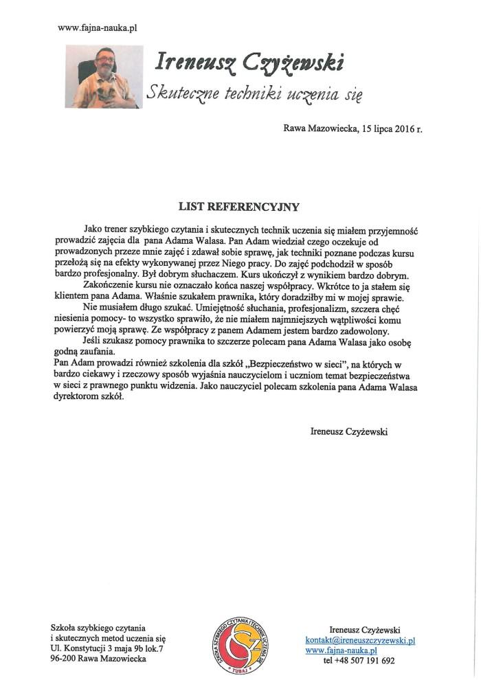 referencje Ireneusz Czyżewski